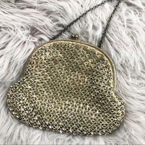 Vintage Crystal Rhinestone Mini Gold-tone Purse